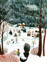 boy and wolf forest